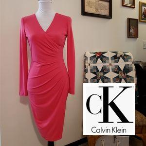 Calvin Klein V Neck Faux Wrap Ruched Sides Dress